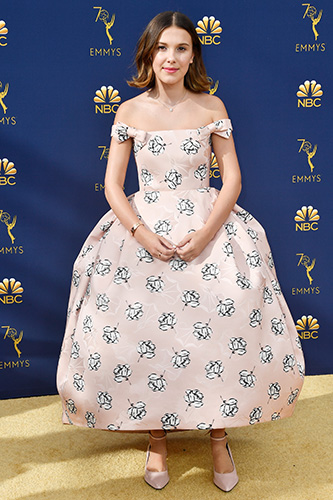 LOS ANGELES, CA - SEPTEMBER 17:  Millie Bobby Brown attends the 70th Emmy Awards at Microsoft Theater on September 17, 2018 in Los Angeles, California.  (Photo by Frazer Harrison/Getty Images)
