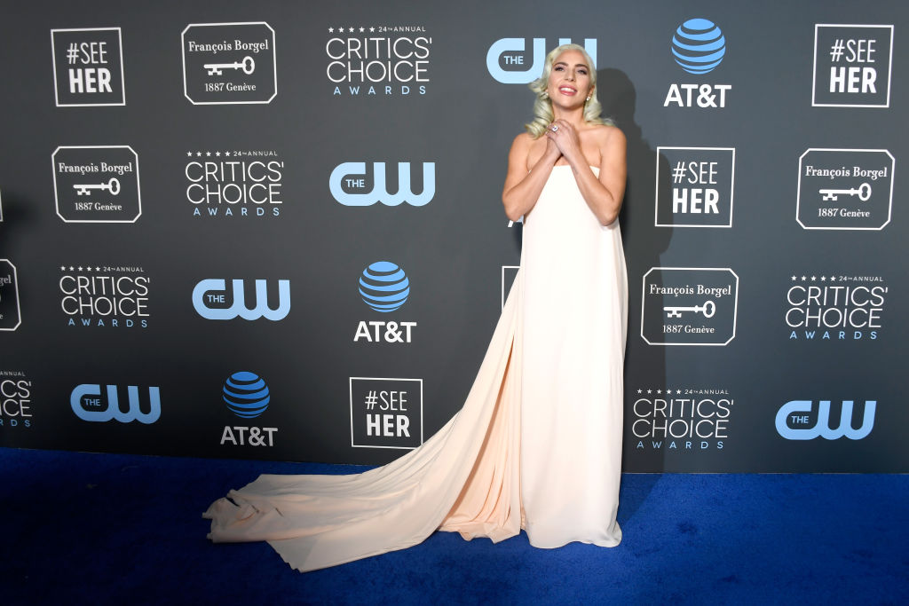 SANTA MONICA, CA - JANUARY 13:  Lady Gaga attends the 24th annual Critics' Choice Awards at Barker Hangar on January 13, 2019 in Santa Monica, California.  (Photo by Frazer Harrison/Getty Images)