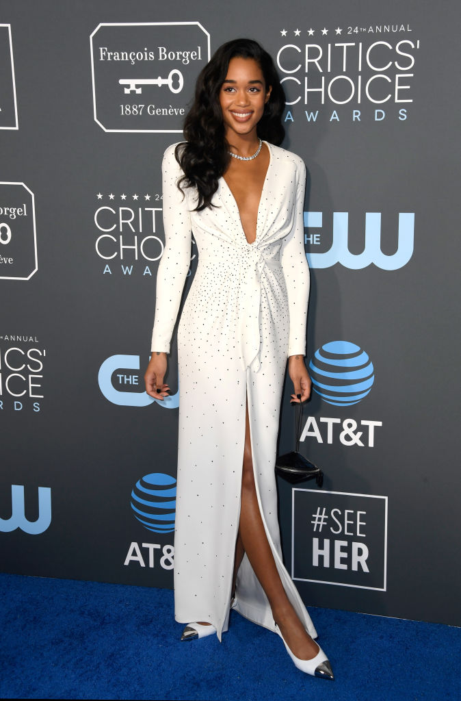 SANTA MONICA, CA - JANUARY 13:  Laura Harrier attends the 24th annual Critics' Choice Awards at Barker Hangar on January 13, 2019 in Santa Monica, California.  (Photo by Frazer Harrison/Getty Images)