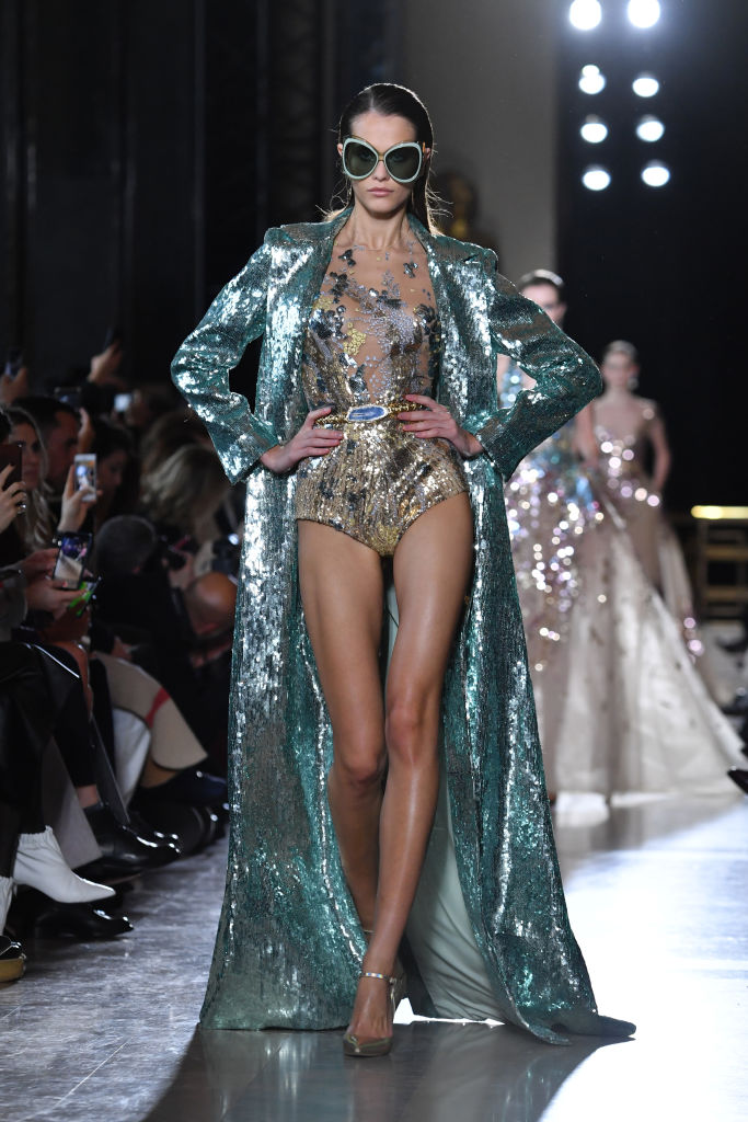 PARIS, FRANCE - JANUARY 23: A model walks the runway during the Elie Saab Spring Summer 2019 show as part of Paris Fashion Week on January 23, 2019 in Paris, France. (Photo by Pascal Le Segretain/Getty Images)