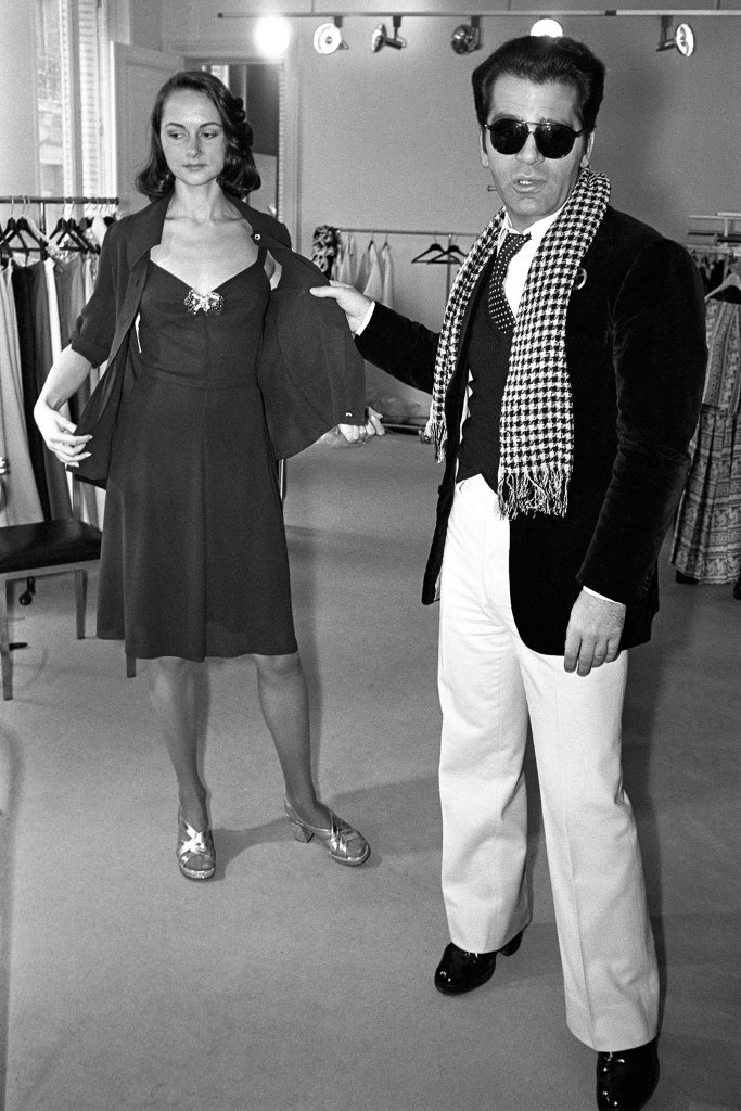 German designer Karl Lagerfeld showing his Spring 1973 Ready to Wear line for Chloe