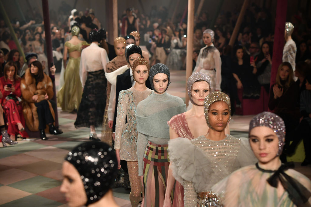 PARIS, FRANCE - JANUARY 21: Models walk the runway during the Christian Dior Spring Summer 2019 show as part of Paris Fashion Week on January 21, 2019 in Paris, France. (Photo by Pascal Le Segretain/Getty Images)