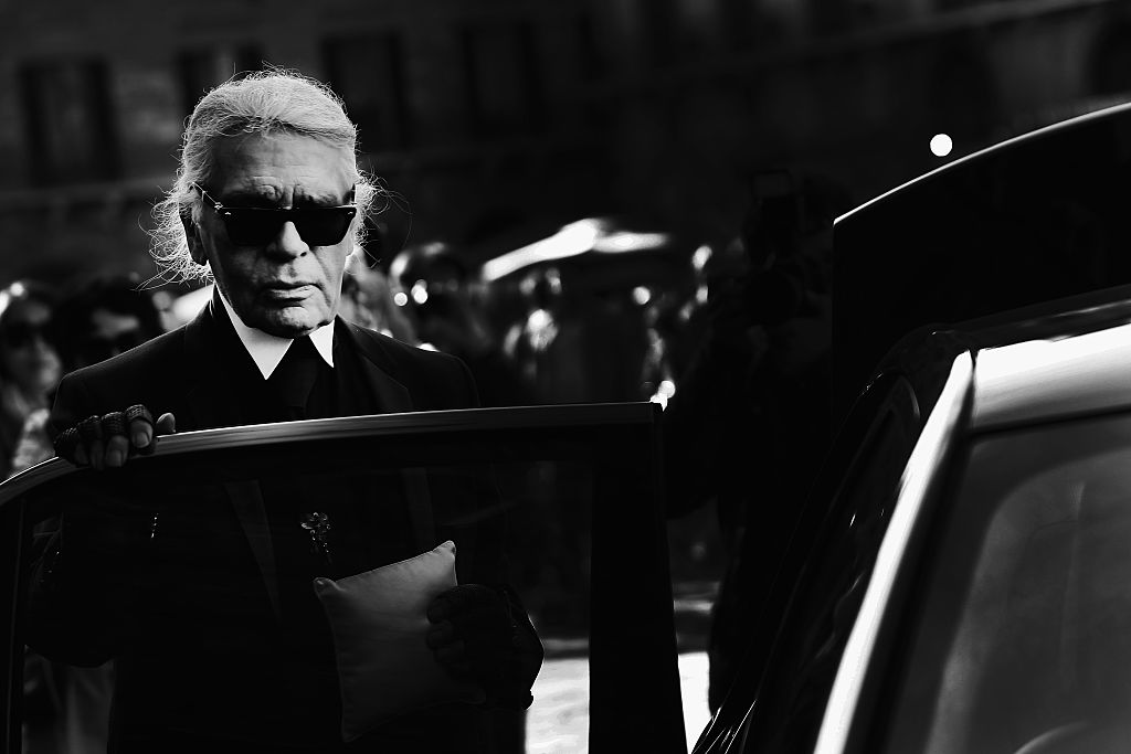 FLORENCE, ITALY - APRIL 22:  (EDITORS NOTE: Image has been converted to black and white)  Karl Lagerfeld attends the Conde' Nast International Luxury Conference at Palazzo Vecchio on April 22, 2015 in Florence, Italy.   (Photo by Vittorio Zunino Celotto/Getty Images for Conde' Nast International Luxury Conference)