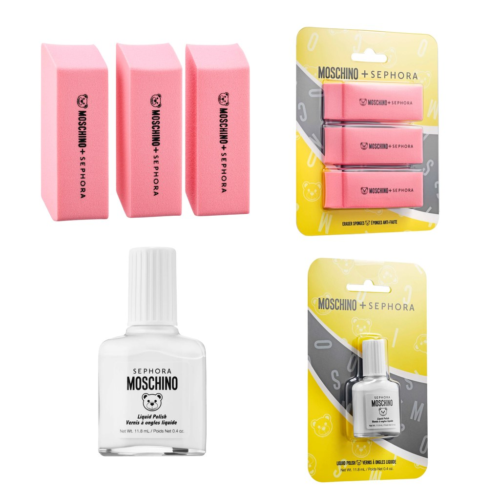 Sephora-Collection-x-Moschino-Eraser-Sponges-and-white-out-nail-polish