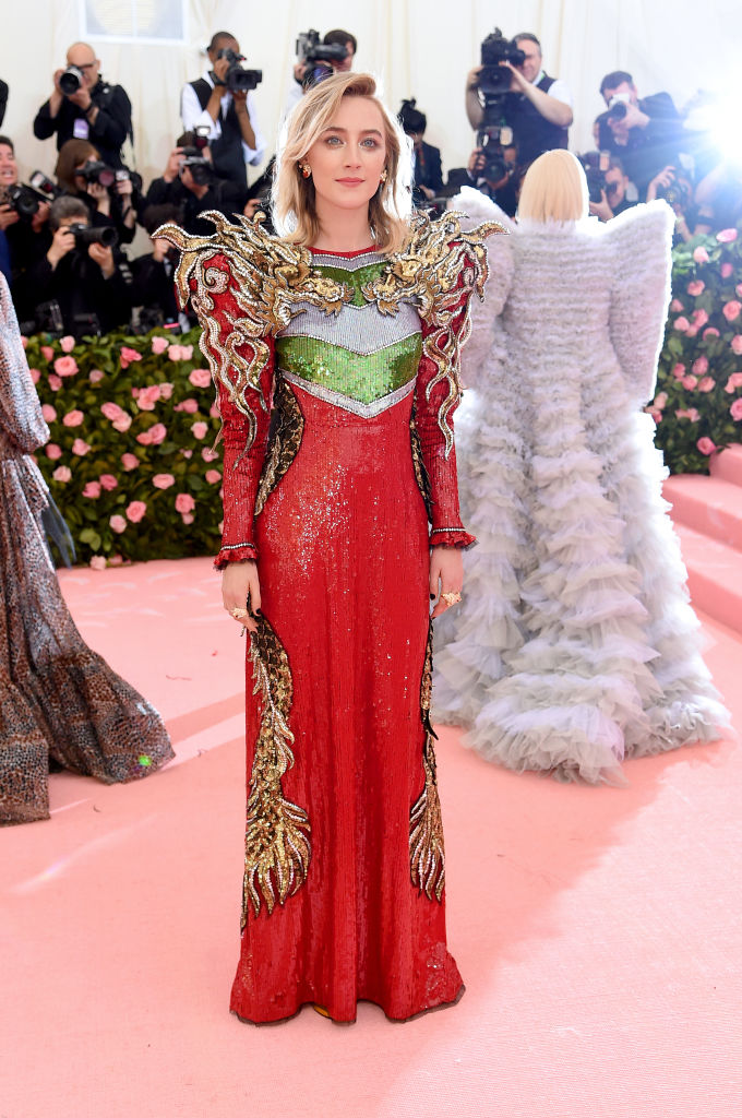NEW YORK, NEW YORK - MAY 06: Saoirse Ronan attends The 2019 Met Gala Celebrating Camp: Notes on Fashion at Metropolitan Museum of Art on May 06, 2019 in New York City. (Photo by Jamie McCarthy/Getty Images)