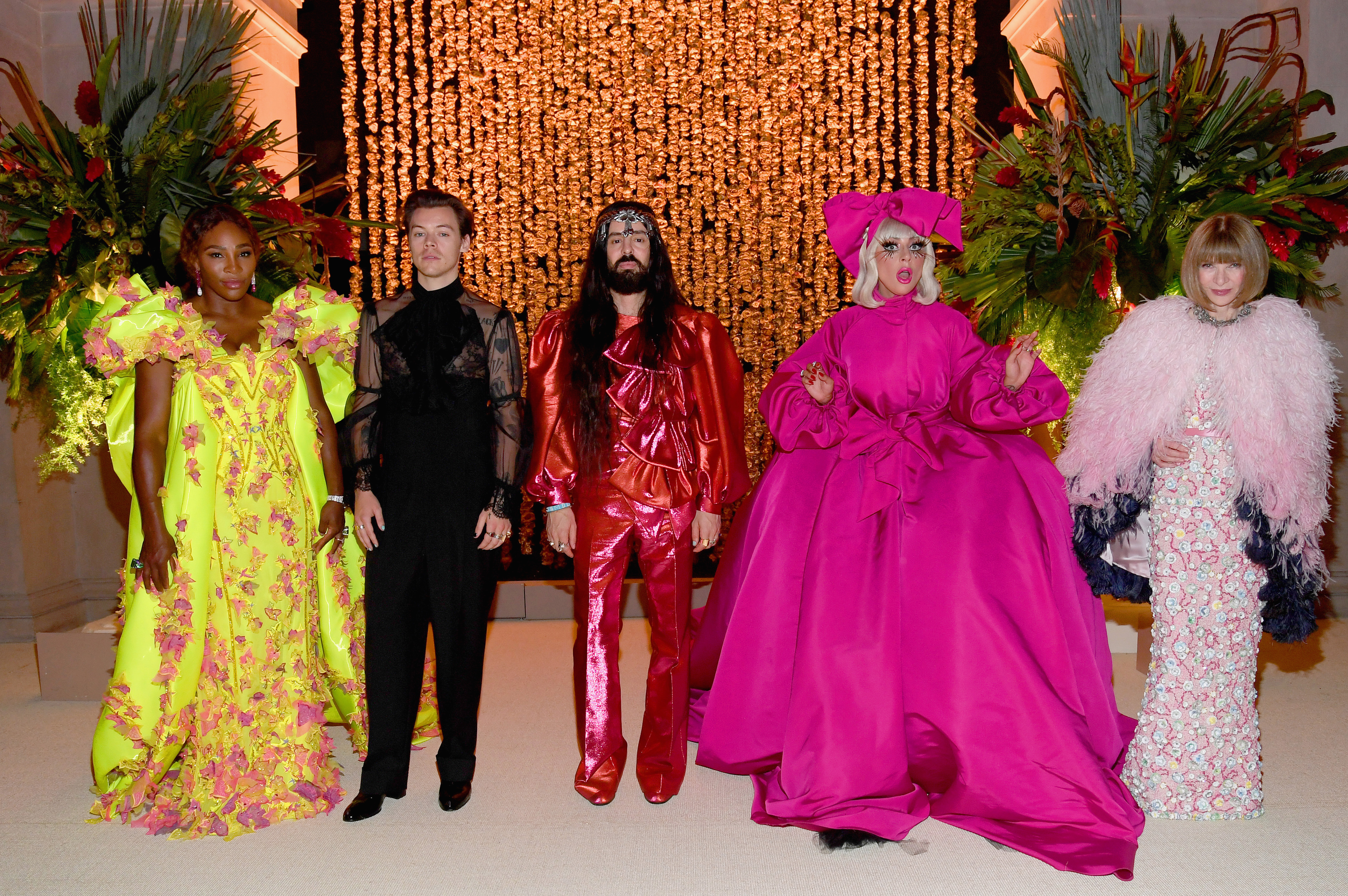NEW YORK, NEW YORK - MAY 06:  (L-R) Co-hosts Harry Styles, Serena Williams, Alessandro Michele, Lady Gaga and Anna Wintour attend The 2019 Met Gala Celebrating Camp: Notes on Fashion at Metropolitan Museum of Art on May 06, 2019 in New York City.  (Photo by Kevin Mazur/MG19/Getty Images for The Met Museum/Vogue)