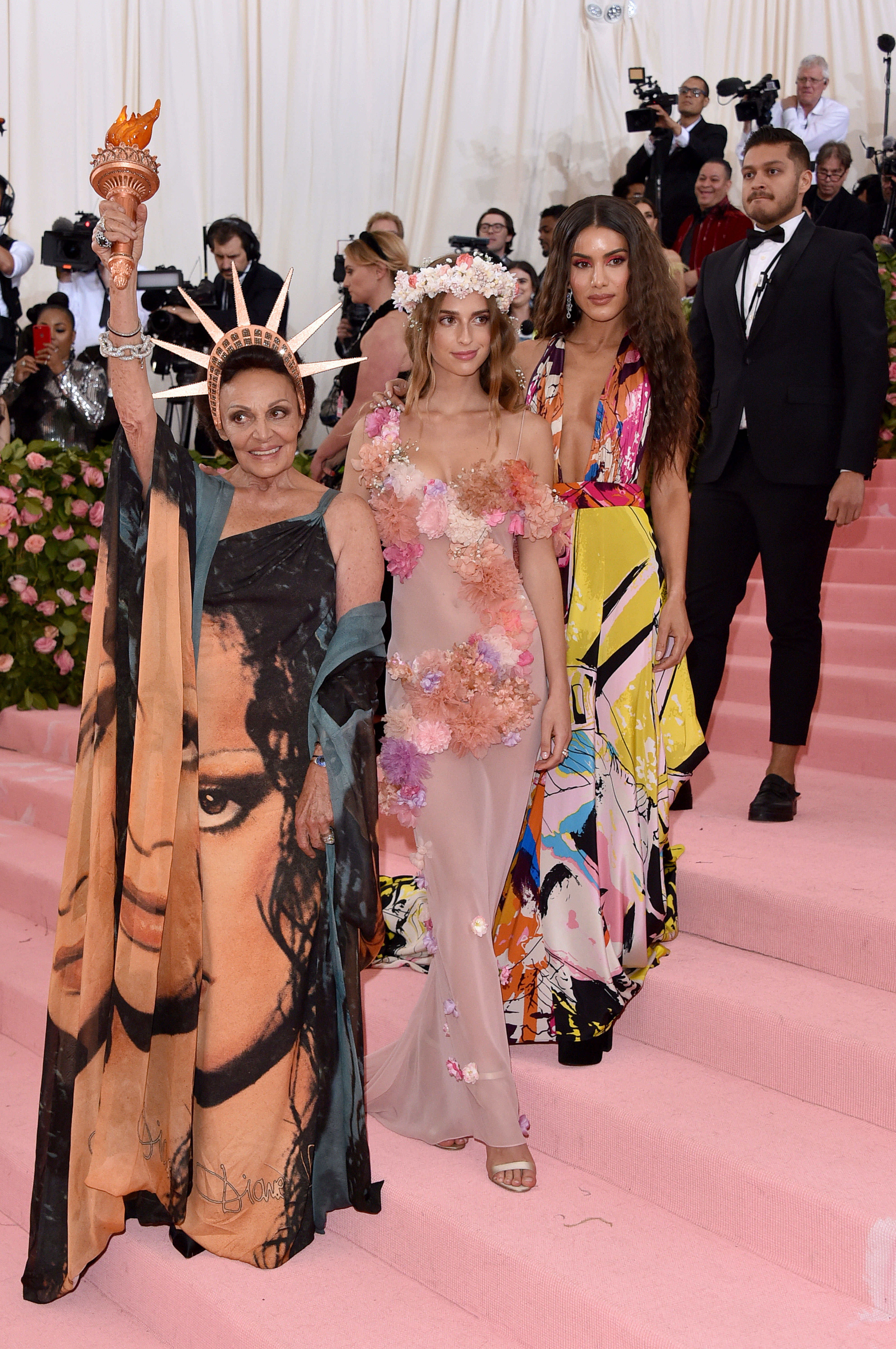 NEW YORK, NEW YORK - MAY 06:  Diane von Furstenberg, Talita Von Furstenberg and Camila Coelho attend The 2019 Met Gala Celebrating Camp: Notes on Fashion at Metropolitan Museum of Art on May 06, 2019 in New York City. (Photo by John Shearer/Getty Images for THR)