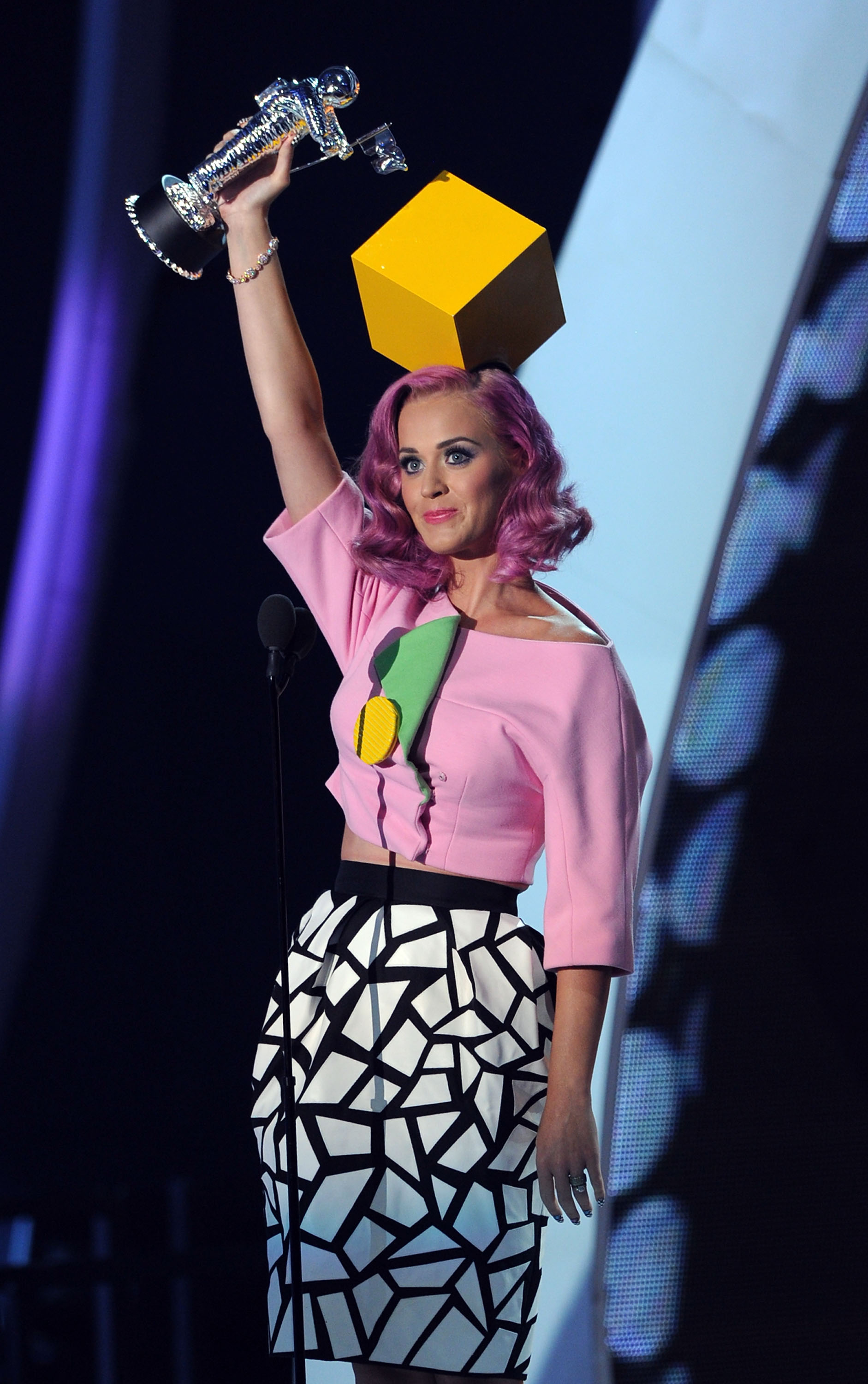 LOS ANGELES, CA - AUGUST 28:  Singer Katy Perry accepts the Video Of The Year award onstage during the 2011 MTV Video Music Awards at Nokia Theatre L.A. LIVE on August 28, 2011 in Los Angeles, California.  (Photo by Kevin Winter/Getty Images)