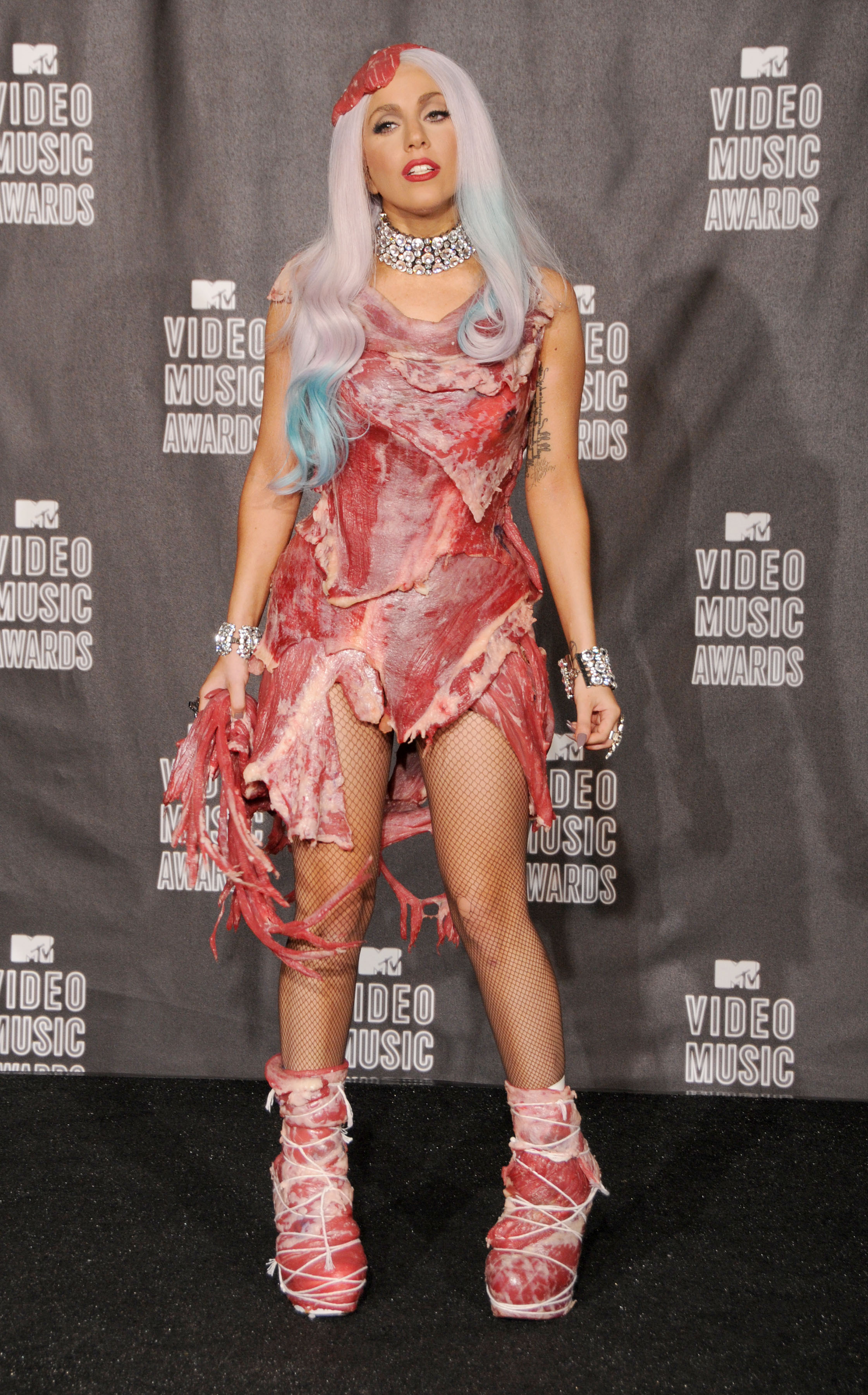 LOS ANGELES, CA - SEPTEMBER 12: Lady Gaga poses in the press room at the 2010 MTV Video Music Awards at the Nokia Theatre on September 13, 2010 in Los Angeles, CA.  (Photo by Gregg DeGuire/FilmMagic)