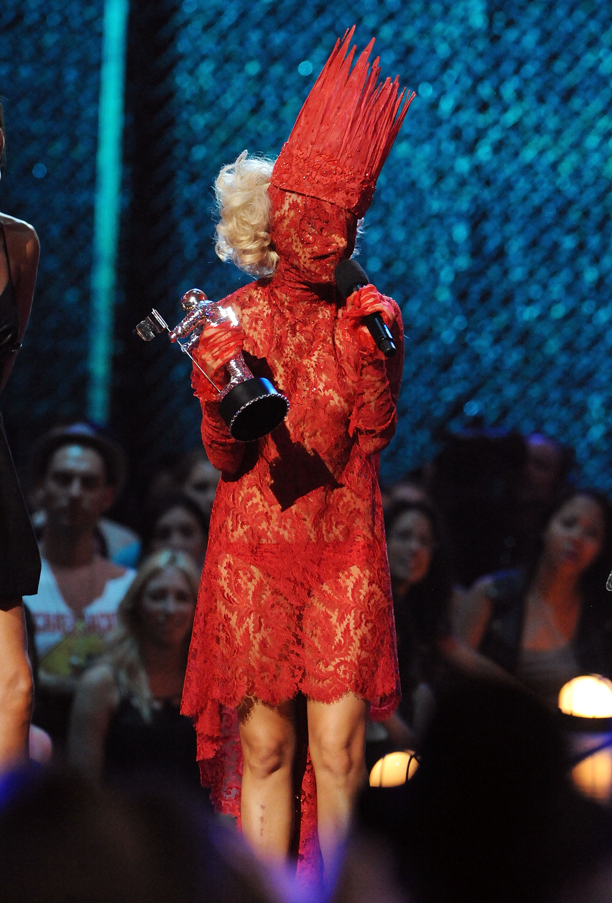 NEW YORK - SEPTEMBER 13:  Lady Gaga accepts her award onstage during the 2009 MTV Video Music Awards at Radio City Music Hall on September 13, 2009 in New York City.  (Photo by Jeff Kravitz/FilmMagic)